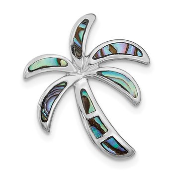 Sterling Silver Rhodium-plated Created Abalone Palm Tree Pendant