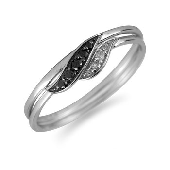 10K WG Black & White Diamond Twin Ring