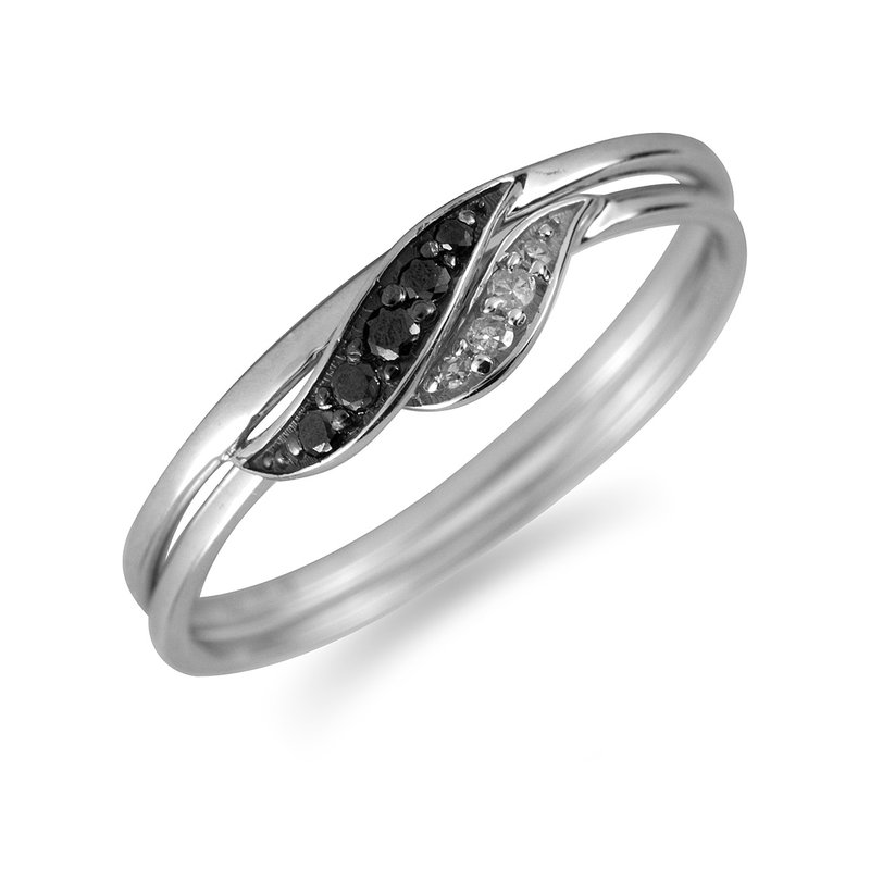 BB Impex 10K WG Black & White Diamond Twin Ring
