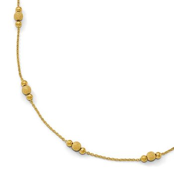 Leslie's 14k Polished and Laser Textured w/2inext. Necklace