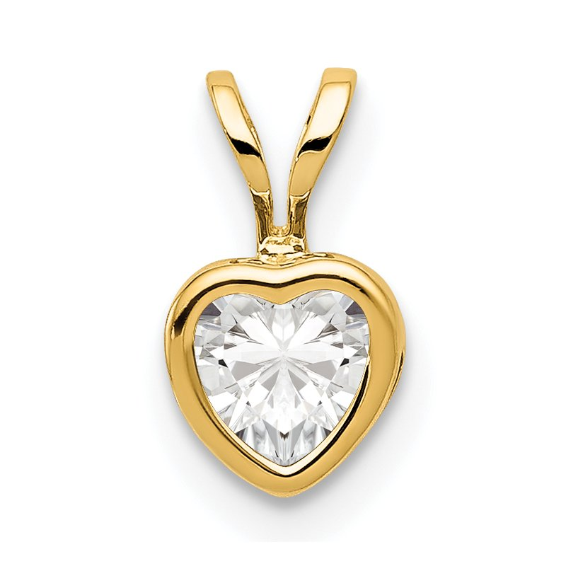 Quality Gold 14k 5mm Heart Cubic Zirconia bezel pendant