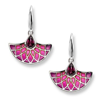 Pink Art Deco Fan Wire Earrings.Sterling Silver-Rhodolite - Plique-a-Jour