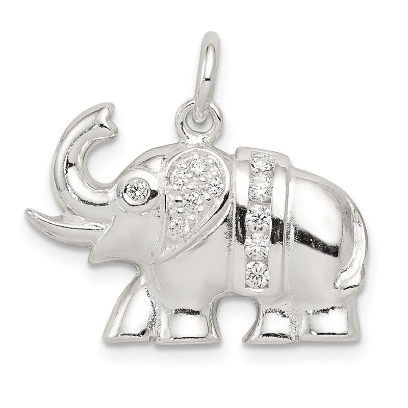 Quality Gold Sterling Silver CZ Elephant Charm
