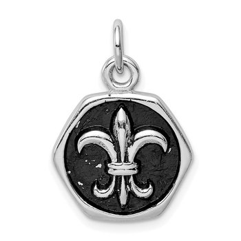 Sterling Silver Rhodium-plated & Antiqued Fleur de lis Pendant