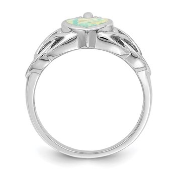 Sterling Silver Lab Created Opal Celtic Knot Crown Ring