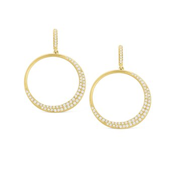 14K Gold and Diamond Circle Earrings