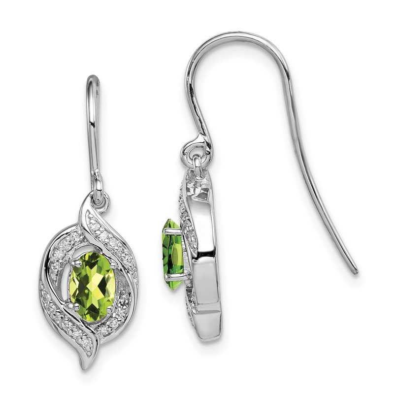 Quality Gold Sterling Silver Rhodium-plated Diamond & Peridot Shepherd Hook Earrings