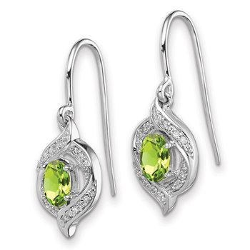 Sterling Silver Rhodium-plated Diamond & Peridot Shepherd Hook Earrings