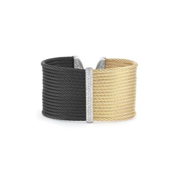 Black & Yellow Cable Colorblock Cuff with 18kt White Gold & Diamonds