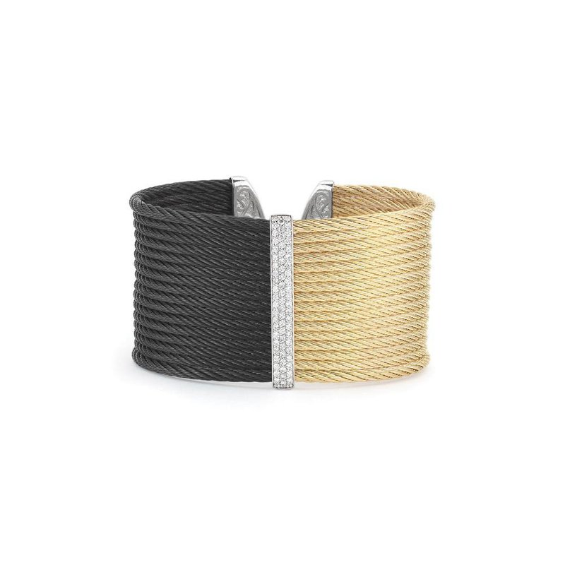 ALOR Black & Yellow Cable Colorblock Cuff with 18kt White Gold & Diamonds