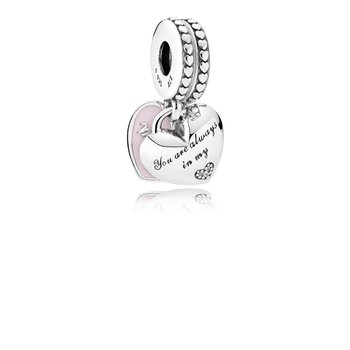 Mother Daughter Hearts Dangle Charm, Soft Pink Enamel Clear Cz