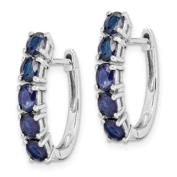Sterling Silver Rhodium-plated Polished Sapphire Hinged Hoop Earrings