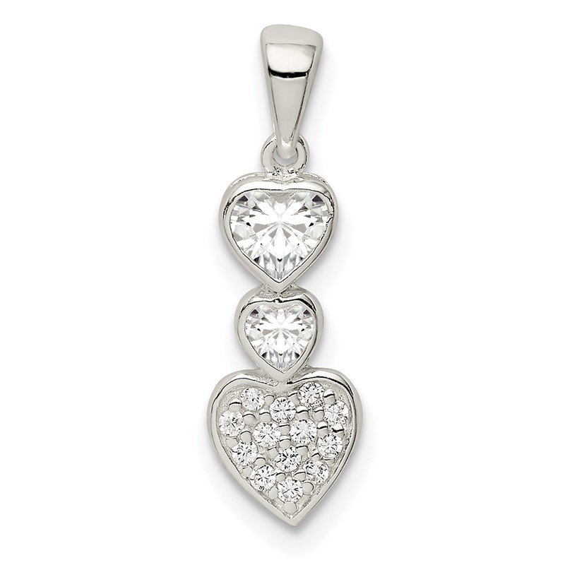 Quality Gold Sterling Silver CZ Hearts Pendant