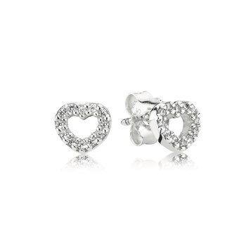 Be My Valentine Heart Stud Earrings, Clear Cz