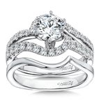 Caro74 Luxury Collection Criss Cross Diamond Engagement Ring in 14K White Gold with Platinum Head (1ct. tw.)
