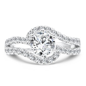Luxury Collection Criss Cross Diamond Engagement Ring in 14K White Gold with Platinum Head (1ct. tw.)