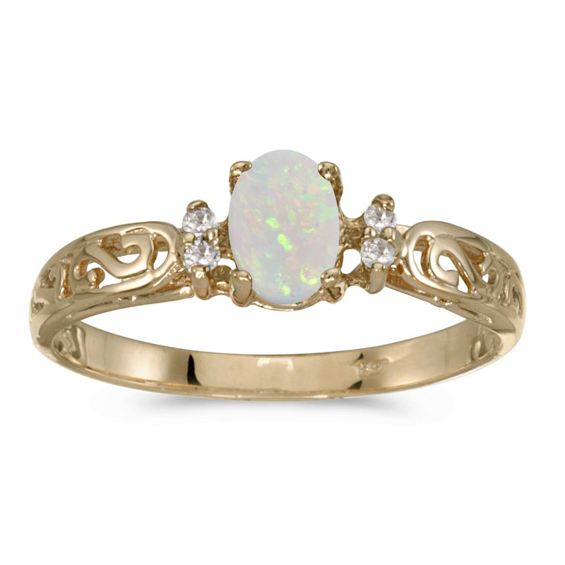 Color Merchants 14k Yellow Gold Oval Opal And Diamond Filagree Ring