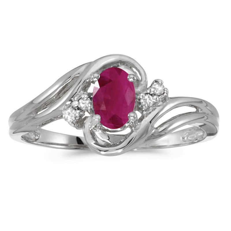 Color Merchants 14k White Gold Oval Ruby And Diamond Ring