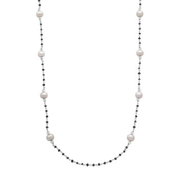 "Honora Sterling Silver 8-9mm White Ringed Freshwater Cultured Pearl Faceted Iolite Bead Tin Cip 36"" Necklace"