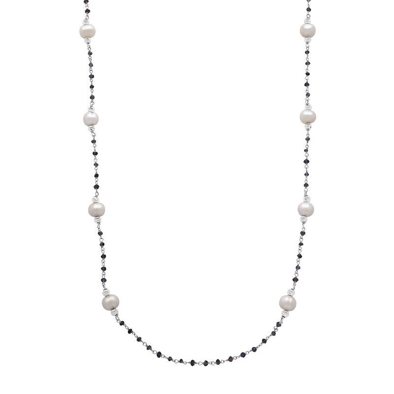 "Honora Honora Sterling Silver 8-9mm White Ringed Freshwater Cultured Pearl Faceted Iolite Bead Tin Cip 36"" Necklace"