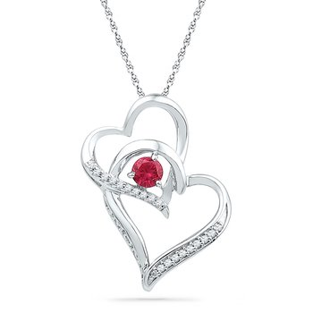 10kt White Gold Womens Round Lab-Created Ruby Heart Love Pendant 1/3 Cttw
