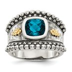 Quality Gold Sterling Silver w/14k London Blue Topaz Ring