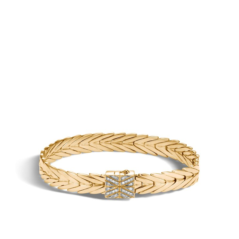 JOHN HARDY Modern Chain 8MM Bracelet in 18K Gold with Diamonds