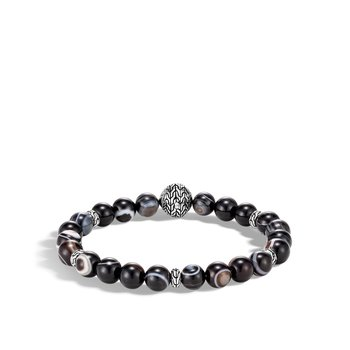 Classic Chain Bead Bracelet, Silver, 8MM Gemstone