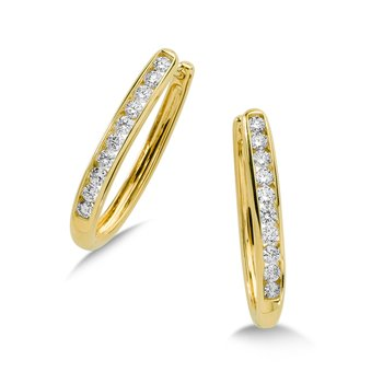 Channel set Diamond Oval Hoops in 14k Yellow Gold (3/4 ct. tw.) GH/SI1-SI2
