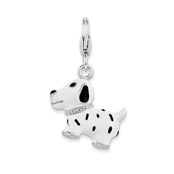 Sterling Silver 3-D Enameled Dalmatian Dog w/Lobster Clasp Charm