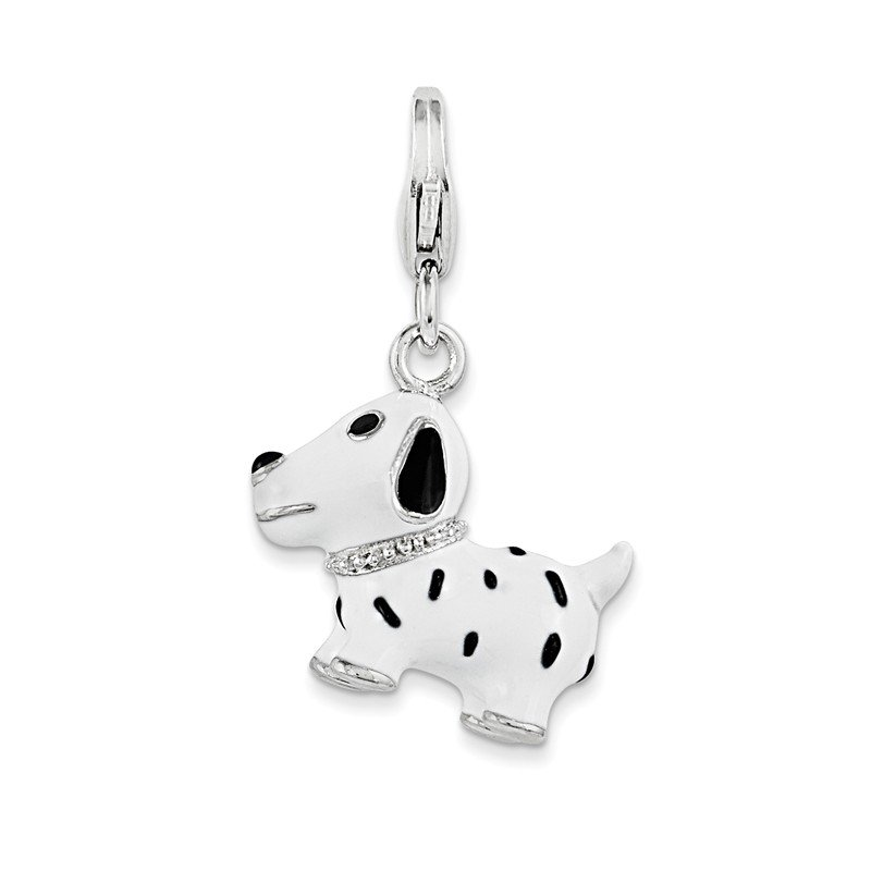 Quality Gold Sterling Silver 3-D Enameled Dalmatian Dog w/Lobster Clasp Charm