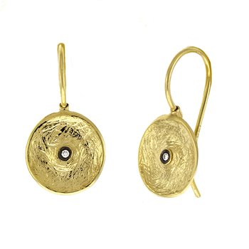 14K Yellow Gold Textured Plate Earrings