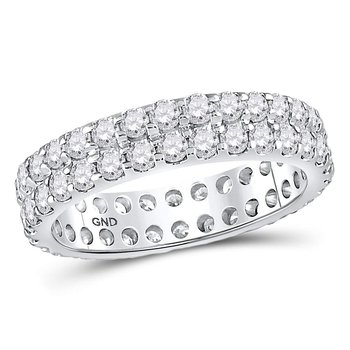 14kt White Gold Womens Round Diamond Double Row Eternity Wedding Band 2.00 Cttw