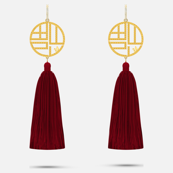 Full Blessing Fu Pierced Earrings, Red, Gold-tone plated
