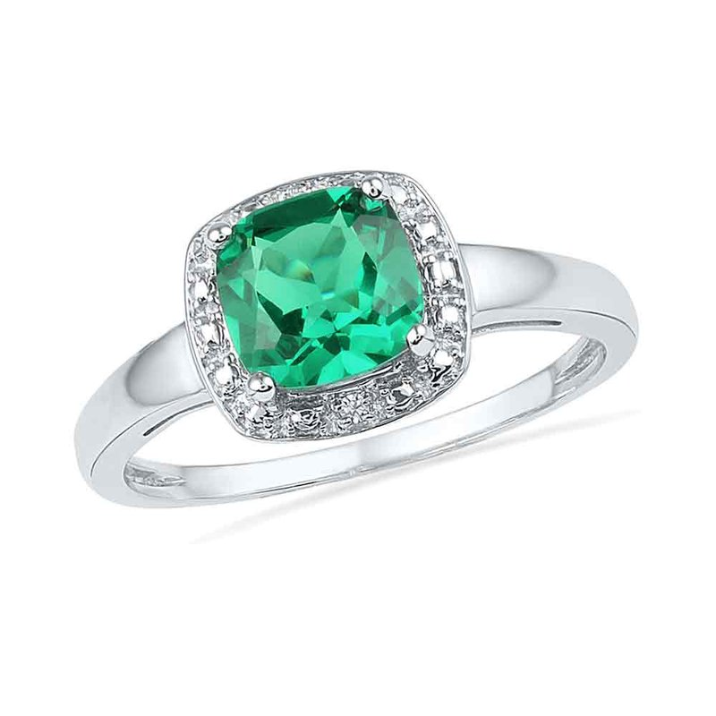 Gold-N-Diamonds, Inc. (Atlanta) 10kt White Gold Womens Princess Lab-Created Emerald Solitaire Diamond Ring 1-3/4 Cttw