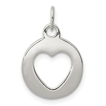 Sterling Silver Polished Circle with Punch Out Heart Charm