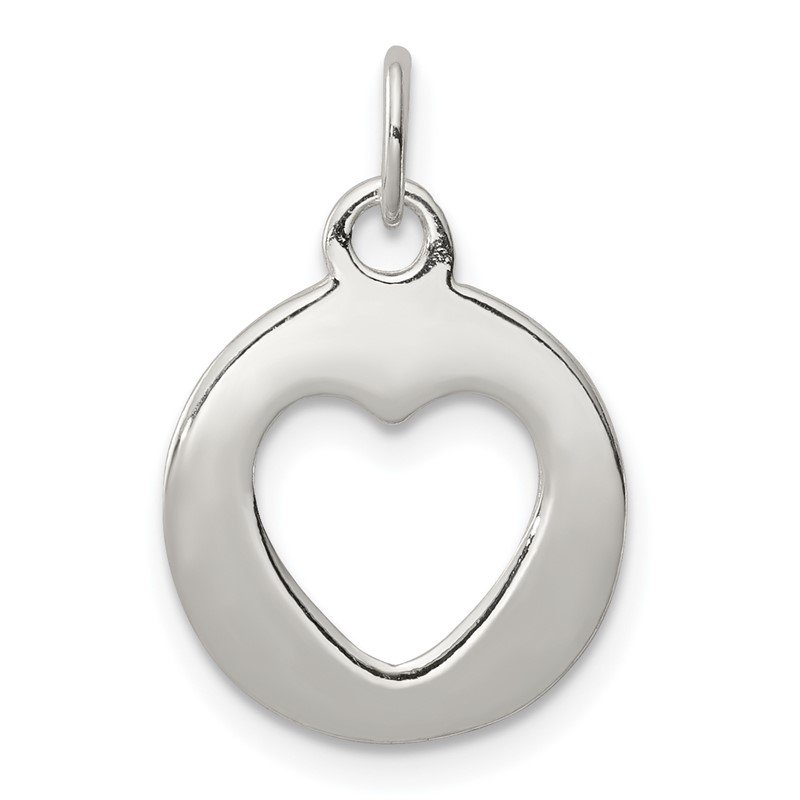 Quality Gold Sterling Silver Polished Circle with Punch Out Heart Charm