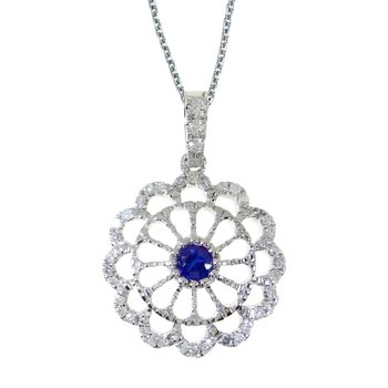 14k White Gold Sapphire and .05 ct Diamond Wheel Pendant