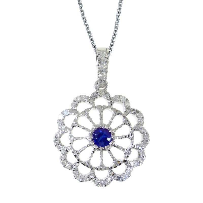 Color Merchants 14k White Gold Sapphire and .05 ct Diamond Wheel Pendant
