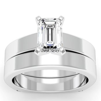 Squared Engagement Ring with Matching Wedding Band
