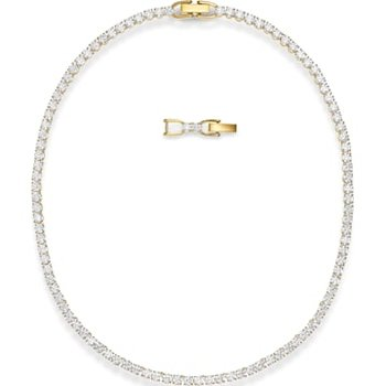 Tennis Deluxe Necklace, White, Gold-tone plated