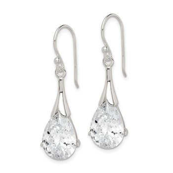 Sterling Silver CZ Shepherd Hook Earrings