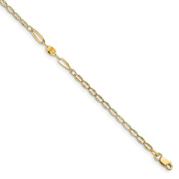 Leslie's 14k Polished and Diamond-cut with 1in ext. Anklet