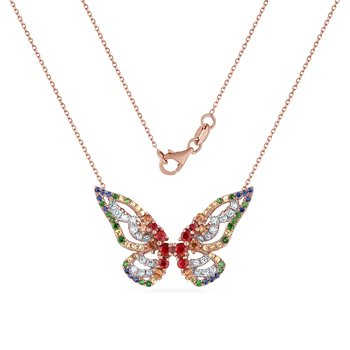 beautiful butterfly necklace with 24 diamonds 0.29CT, 54 fancy color sapphire 1.11CT & 20 green garnet 0.17CT 21mm long X 31mm wide