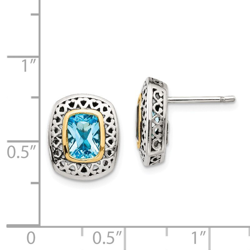 Shey Couture Sterling Silver w/14k Antiqued Blue Topaz Post Earrings