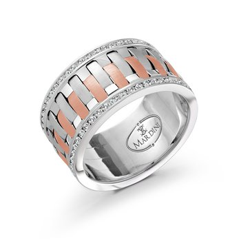A dazzling 12mm two-tone white and rose gold interweaved center band, embelished with 98X0.01CT diamonds