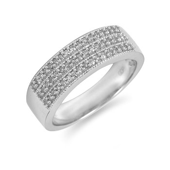 14K WG Diamond Milgrain Edged Wedding Band