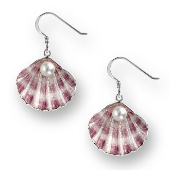 Purple Shell Wire Earrings.Sterling Silver-Freshwater Pearls