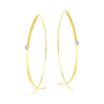 14K Yellow and White Gold Bypass Wire Earrings
