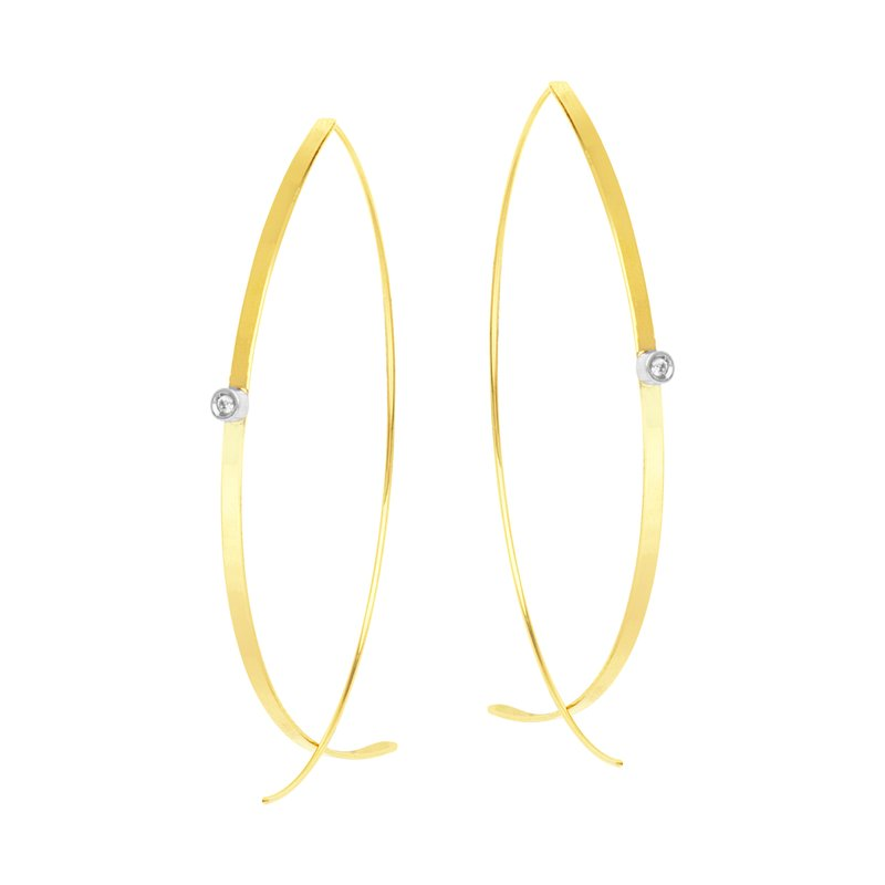 Color Merchants 14K Yellow and White Gold Bypass Wire Earrings